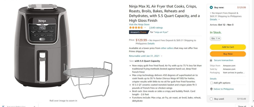 Amazon listing example