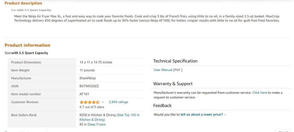 Amazon listing product description