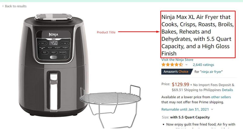 Amazon listing product title