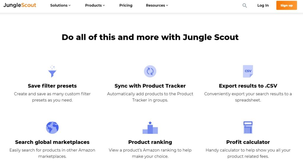 Jungle Scout product research tools
